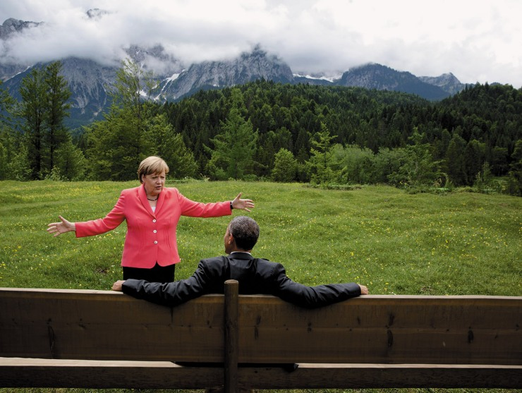 President Barack Obama and German Chancellor Angela Merkel at the G7 Summit, Krün, Germany, June 2015